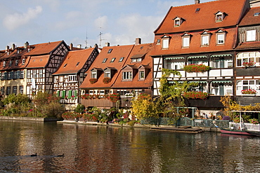 Fishermen's cottage in Klein-Venedig along the Regnitz River, Bamberg, Bavaria, Germany