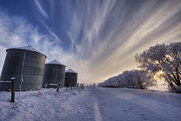 Grain silos along a snow covered winter road, rural Alberta