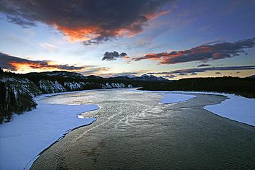 Sunrise over the Teslin River, Yukon