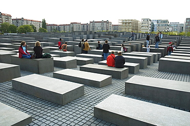 People at the Memorial to the Murdered Jews of Europe, Berlin, Germany