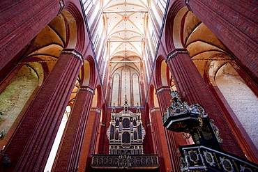 Organ and pulpit in St. Nikolai Church, Wismar, Germany