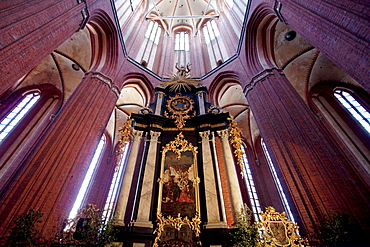 Baroque altar in St. Nikolai Church, Wismar, Germany