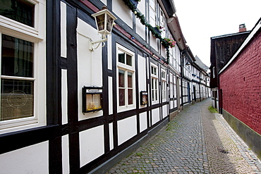 Street scene with half-timbered buildings, Goslar, Germany