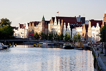 Crow-stepped gabled houses along the Hansahafen, Lubeck, Germany