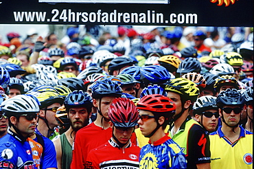 Participants gather for the annual 24 Hours of Adrenalin mountain Bike event, Toronto, Ontario.