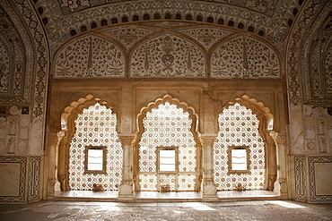Window at the Jas Mandir, Amber Fort, Rajasthan, India