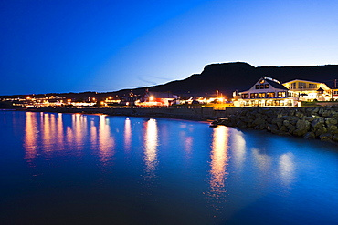 Village and Mont Sainte-Anne at dusk, Perce, Gaspesie, Quebec