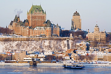 Chateau Frontenac and St. Lawrence River in Winter, the Old City of Quebec, Quebec