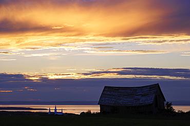 Barn, Church and St. Lawrence River at Twilight, Bas-Saint-Laurent Region, Trois-Pistoles, Quebec