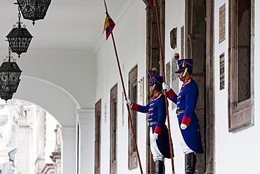 Honour Guards standing in front of Palacio de Carondelet (Presidential Palace), Quito, Pichincha, Ecuador