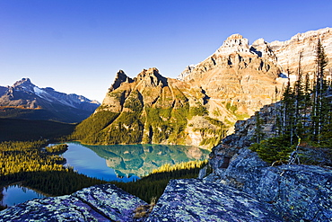 Lake O'Hara and Mountains from Opabin Prospect, Yoho National Park, British Columbia