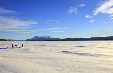 Snowshoeing across the frozen Teslin Lake, Yukon