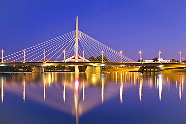 Red River and Esplanade Riel Bridge at night, Winnipeg, Manitoba