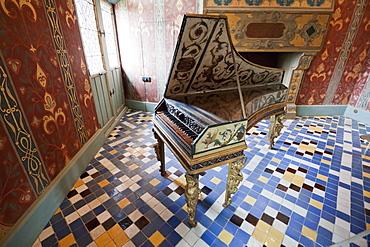 Harpsichord in the Galurie de la Reine Chuteau de Blois, Blois, France