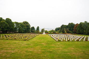 War graves at the Thiepval Memorial to the Missing of the Somme, designed by Sir Edwin Lutyens, Thiepval, Somme, France