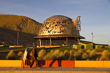 Miner's hat-shaped modern monument at the entrance to Oruro, Bolivia