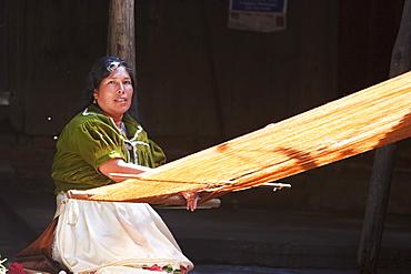 Purupecha woman at the loom, Angahuun, Michoacun, Mexico