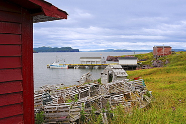 Fishing boat dock & lobster traps, Open Hall, Newfoundland