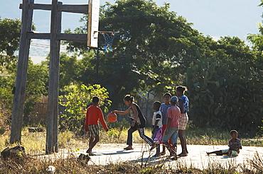 Children playing basketball in Ranohira, Fianarantsoa Province, Madagascar