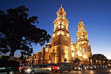 Cathedral at dusk, Morelia, Michoacun, Mexico