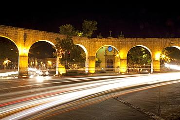 Aqueduct at night, Morelia, Michoacun, Mexico