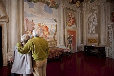 Old couple in Villa Godi Malinverni by Andrea Palladio, Lonedo di Lugo, Italy