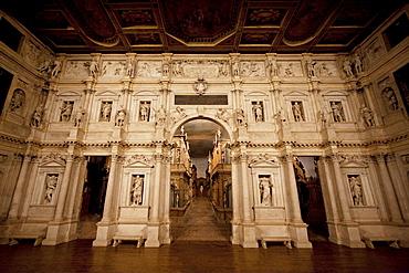 Proscenium of the Teatro Olimpico (Olympic Theatre) by architect Andrea Palladio, Vicenza, Italy