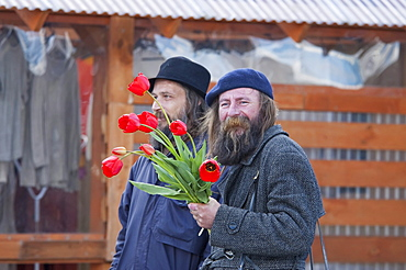 Man with flowers in Trakai, Lithuania