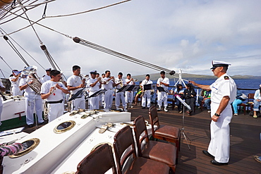 Navy Band performing on board of the four-mast barquentine, Chilean Navy Training Ship Esmeralda in Hanga Roa Harbour, Rapa Nui (Easter Island), Chile