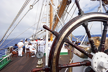 Onboard the four-mast barquentine, Chilean Navy Training Ship Esmeralda in Hanga Roa Harbour, Rapa Nui (Easter Island), Chile