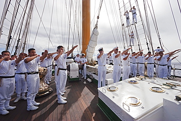 Whistle demonstration on board the four-mast barquentine, Chilean Navy Training Ship Esmeralda in Hanga Roa Harbour, Rapa Nui (Easter Island), Chile