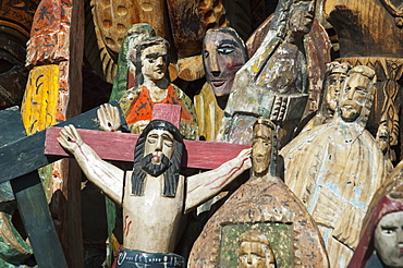Wooden statuettes, Chichicastenango, El Quichu, Guatemala