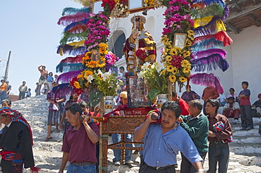 On Easter Sunday the comrades (council men) carry the andas (floats) of the saints in procession from the Santo Tomus Church in Chichicastenango, El Quichu, Guatemala
