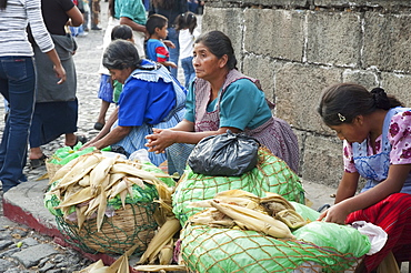 Cooked corn vendors, Antigua, Sacatepuquez, Guatemala