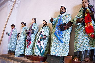 The dressed statues of the Saints in the Santiago Apostol Church are also the guardian-spirits of the Tzutuhil pantheon, a classic example of Maya-Catholic syncretism, Santiago de Atitlun, Sololu, Guatemala