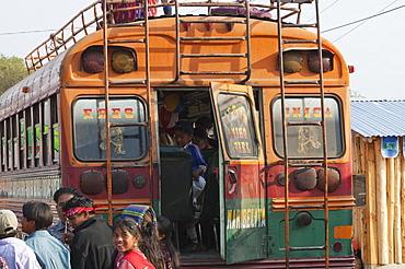 Chicken bus, Panajachel, Sololu, Guatemala
