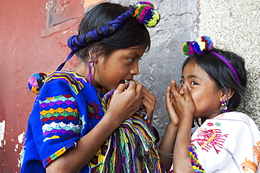 Maya girls, Antigua, Sacatepuquez, Guatemala