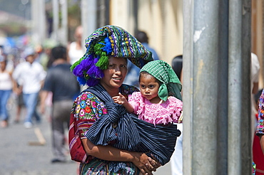 Maya woman & girl, Antigua, Sacatepuquez, Guatemala