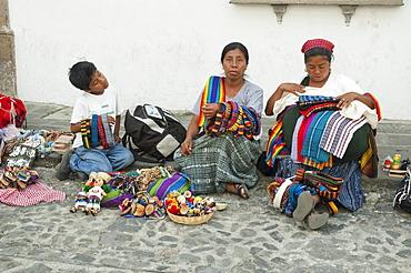Maya souvenir vendors, Antigua, Sacatepuquez, Guatemala