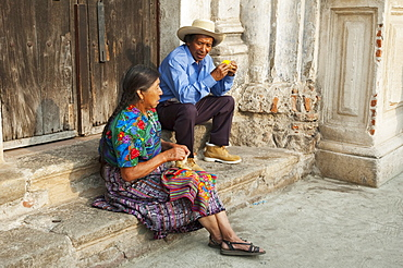 Maya couple, Antigua, Sacatepuquez, Guatemala