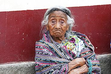 Old Tzutjil Maya woman, Santiago de Atitlun, Sololu, Guatemala