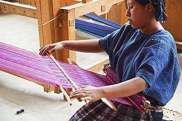 Maya woman at the loom, San Antonio Palopo, Sololu, Guatemala