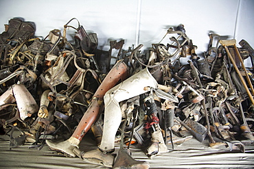 Pile of prosthetic devices belonging to handicapped people murdered at the Auschwitz Concentration Camp, Oswiecim, Malopolska, Poland