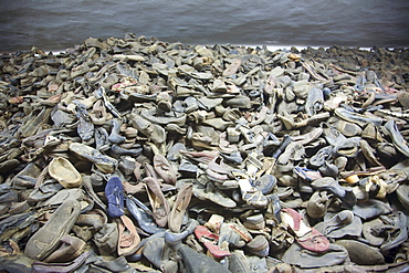 Pile of shoes belonging to people murdered at the Auschwitz Concentration Camp, Oswiecim, Malopolska, Poland
