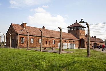 Main guard house (Gate of Death), Auschwitz-Birkenau Concentration Camp, Oswiecim, Malopolska, Poland