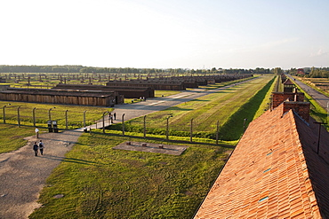 View of the Medical Barracks from the Main Guard House, Auschwitz-Birkenau Concentration Camp, Oswiecim, Malopolska, Poland