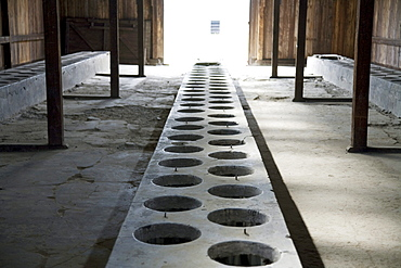 Latrine in one of the medical barracks, Auschwitz-Birkenau Concentration Camp, Oswiecim, Malopolska, Poland