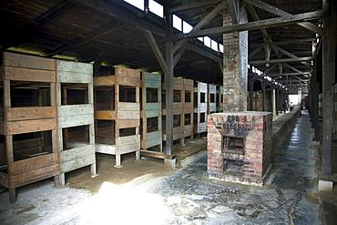 Interior of one of the medical barracks, Auschwitz-Birkenau Concentration Camp, Oswiecim, Malopolska, Poland