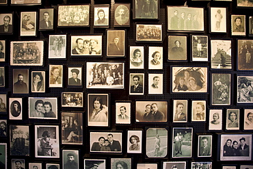 Installation at the Sauna displaying photographs found among the belongings of people murdered at the Auschwitz-Birkenau Concentration Camp, Oswiecim, Malopolska, Poland