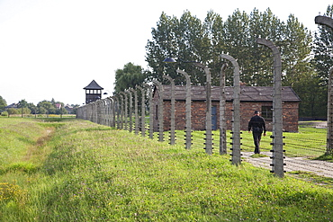 Electrified barbed wire fence along the perimeter of the Auschwitz-Birkenau Concentration Camp, Oswiecim, Malopolska, Poland